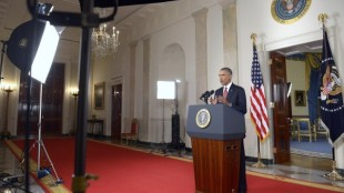 President Obama delivers a speech to the White House regarding the United States' role in the fight against the Islamic State.  Credit: AP PHOTO/SAUL LOEB